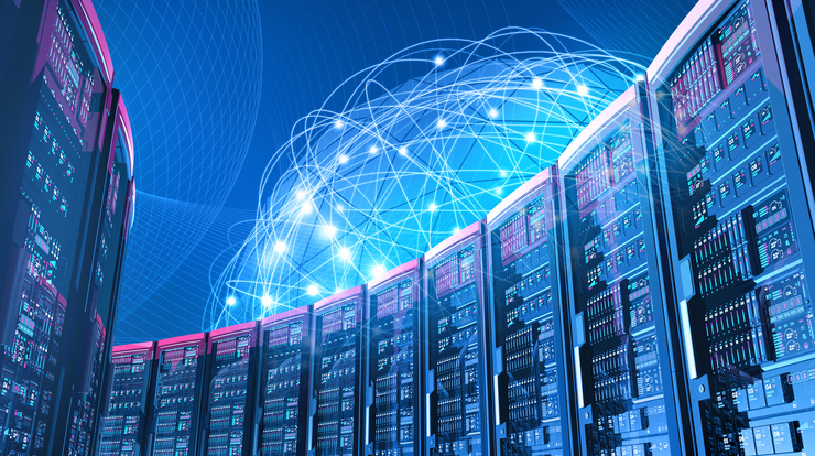 hyperscale data center with holographic network behind